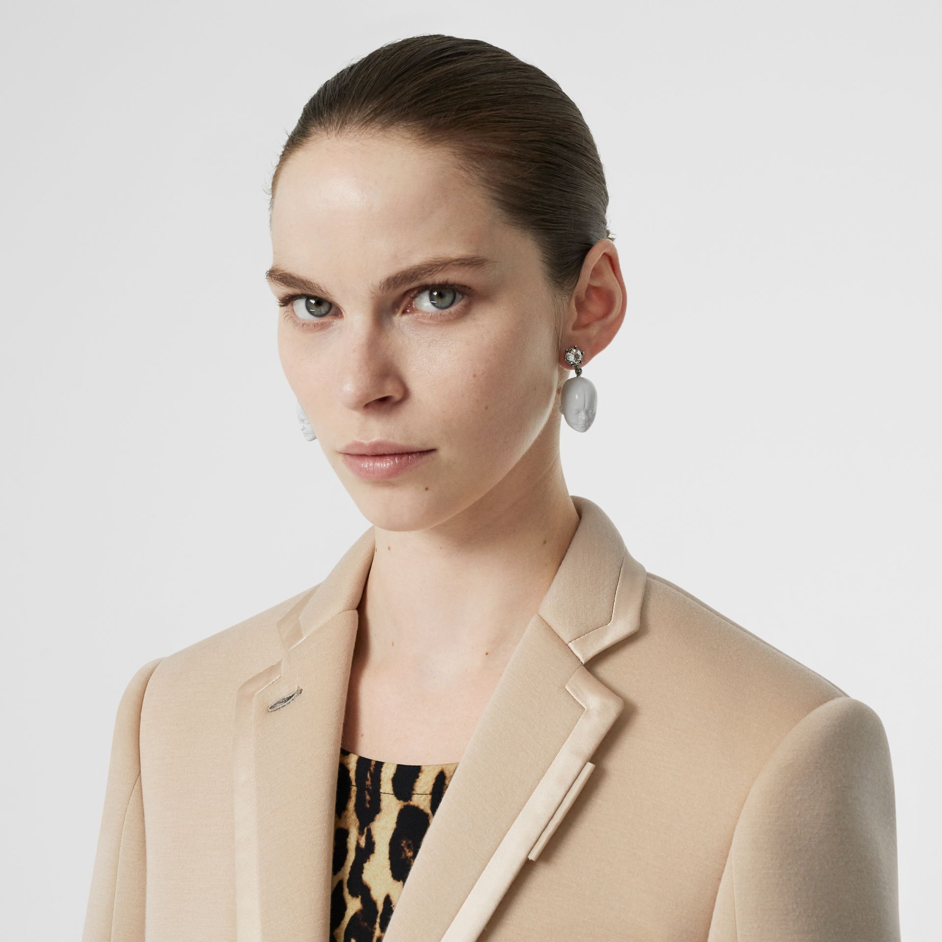 Silk Trim Neoprene Blazer in Teddy Beige - Women | Burberry Australia - gallery image 1