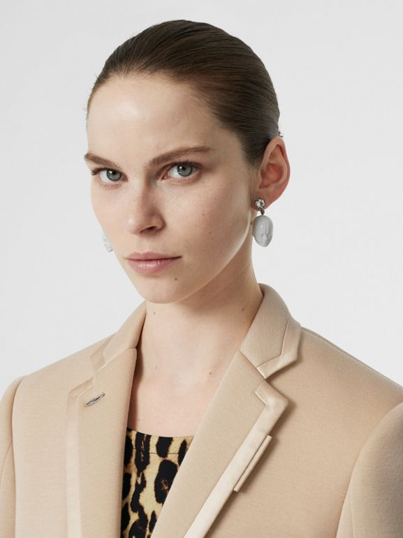 Silk Trim Neoprene Blazer in Teddy Beige - Women | Burberry - cell image 1