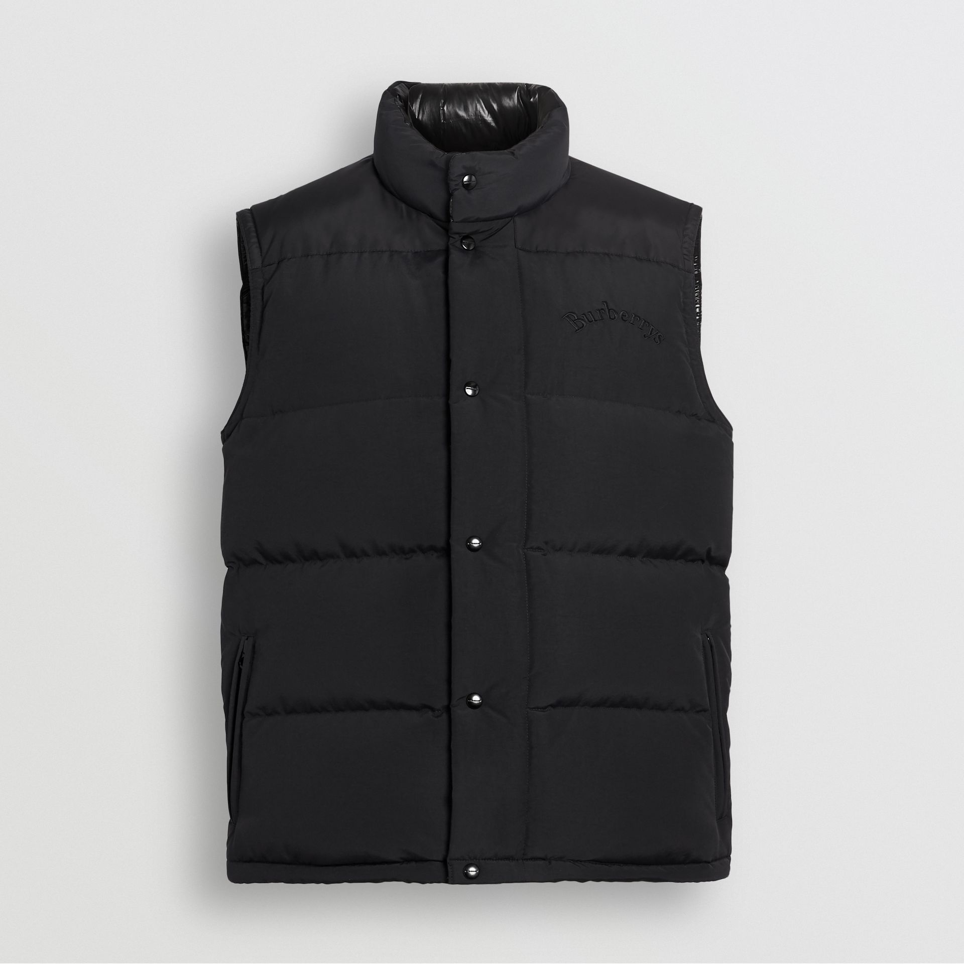 Embroidered Archive Logo Down-filled Gilet in Black - Men | Burberry United States - gallery image 3