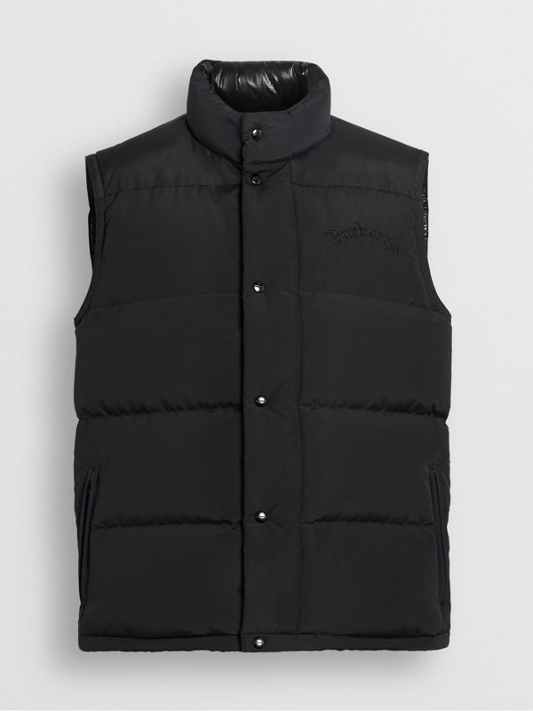 Embroidered Archive Logo Down-filled Gilet in Black - Men | Burberry United States - cell image 3