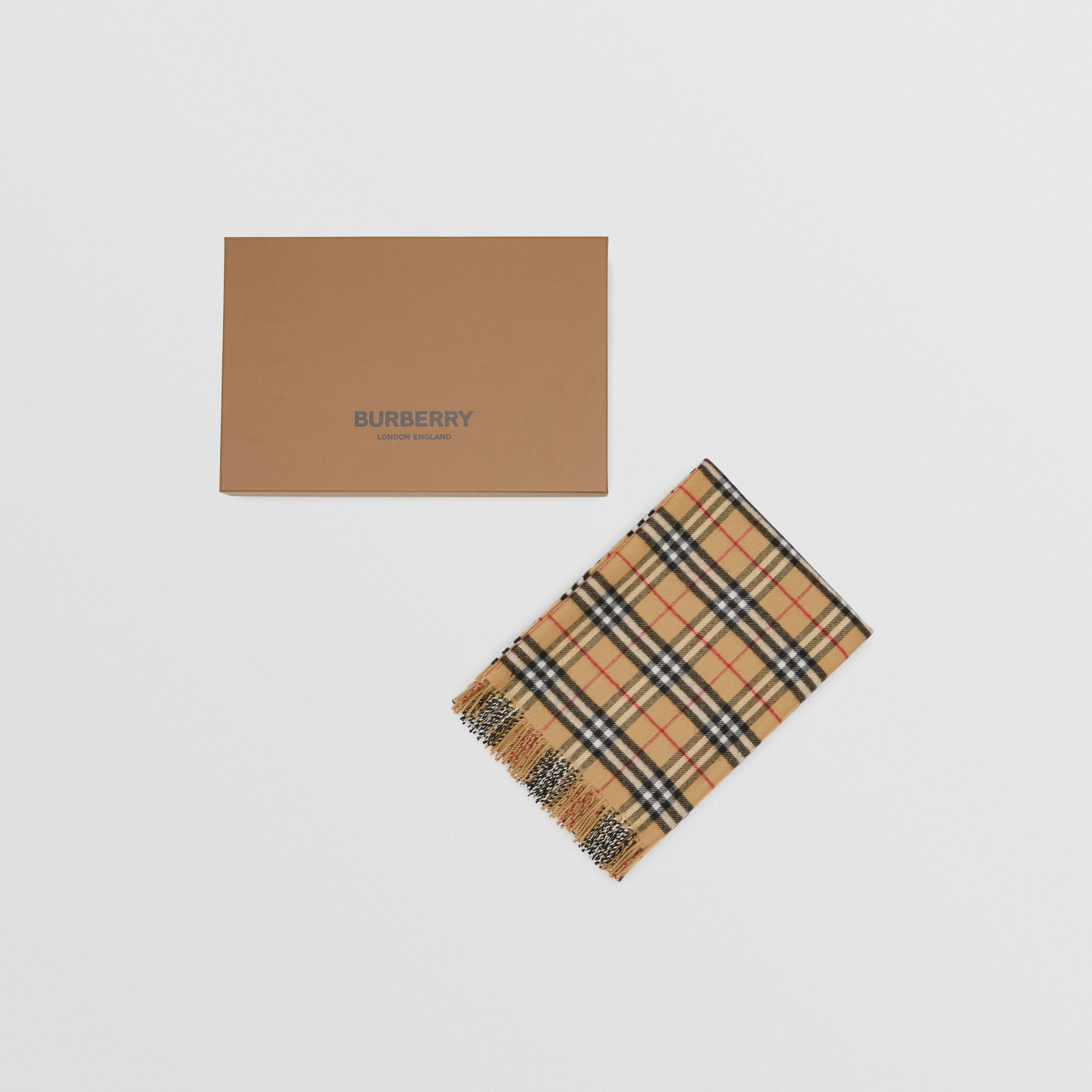 Vintage Check Merino Wool Baby Blanket in Archive Beige - Children | Burberry Singapore - 4
