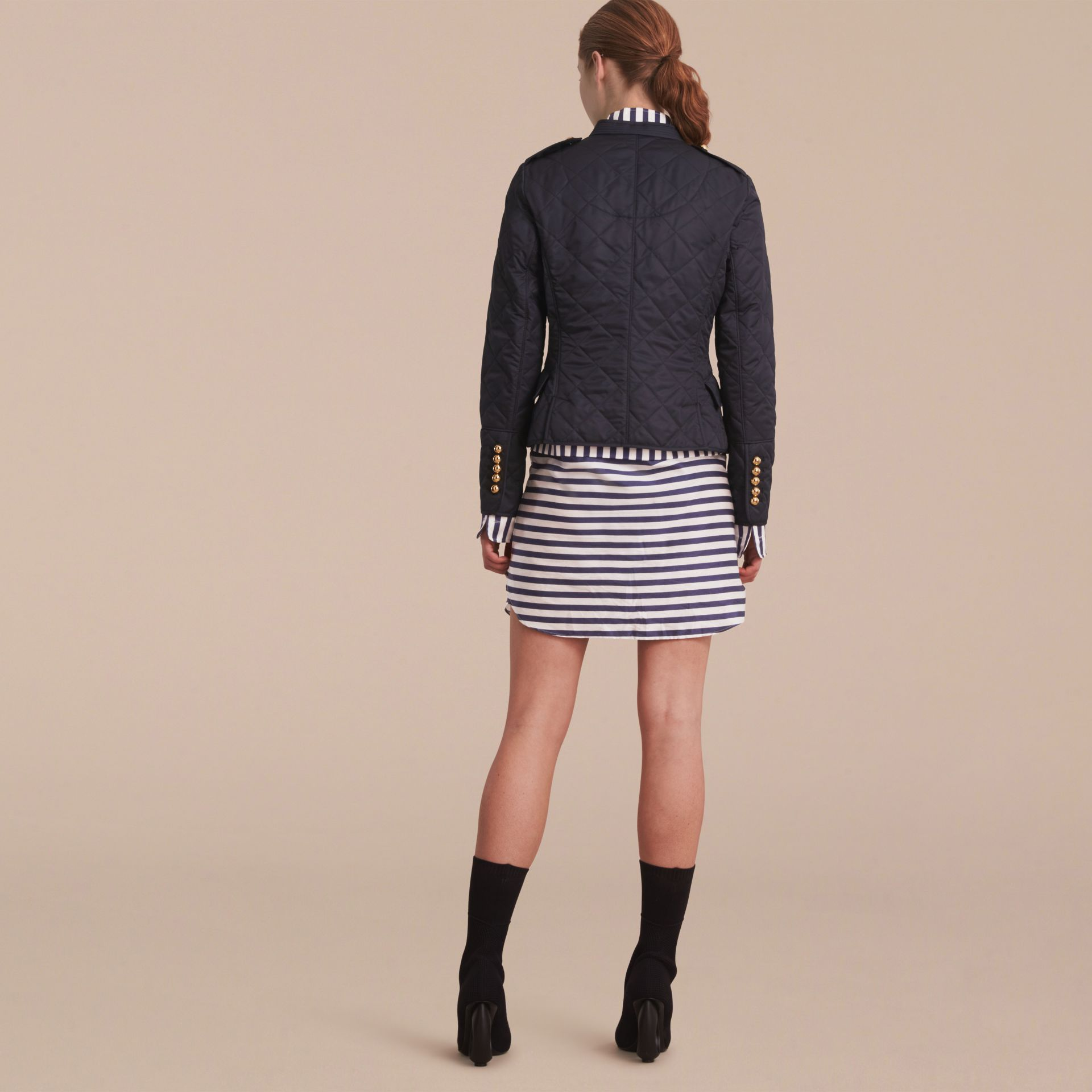 Double-breasted Quilted Military Jacket in Navy - gallery image 3