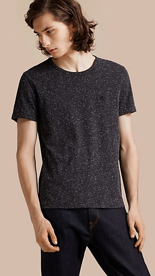 Crew Neck Flecked Cotton Jersey T-Shirt