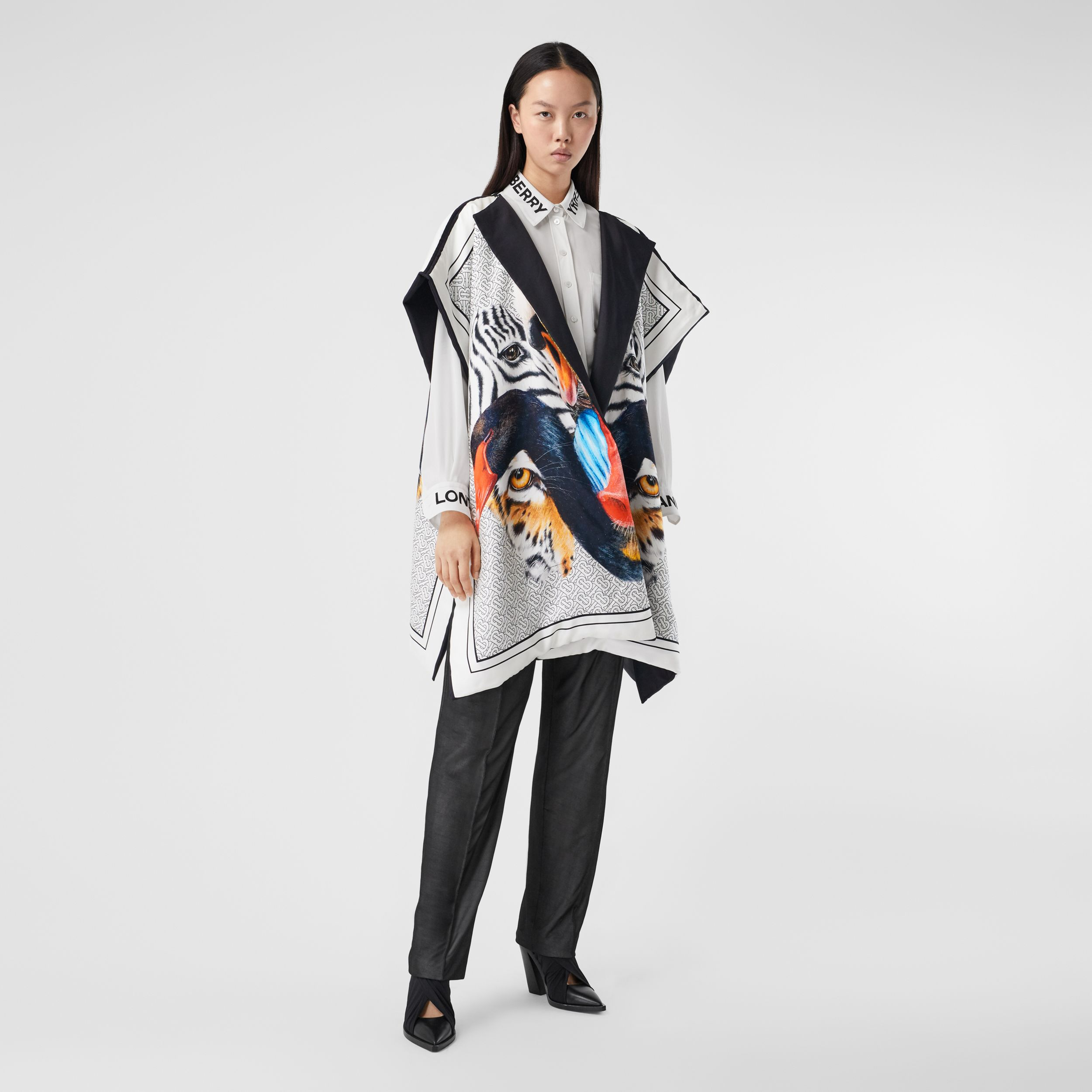 Animalia Print Silk Twill Cape in Multicolour - Women | Burberry - 1
