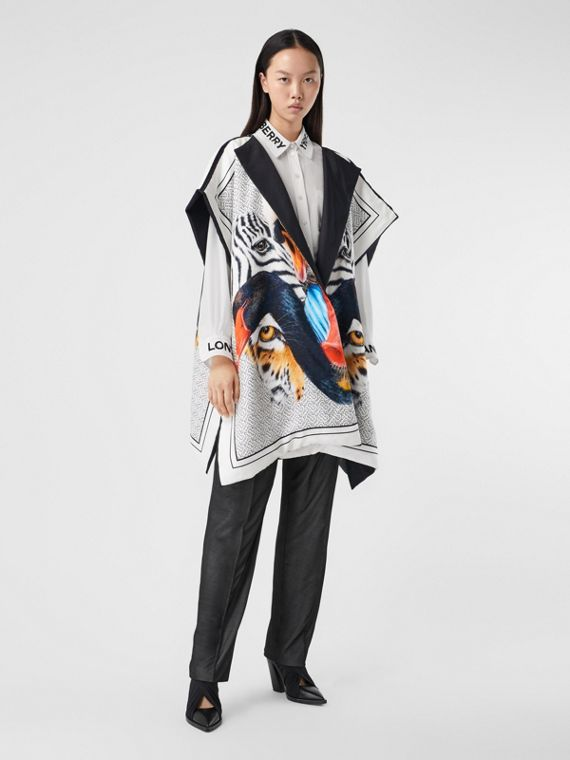 Animalia Print Silk Twill Cape in Multicolour