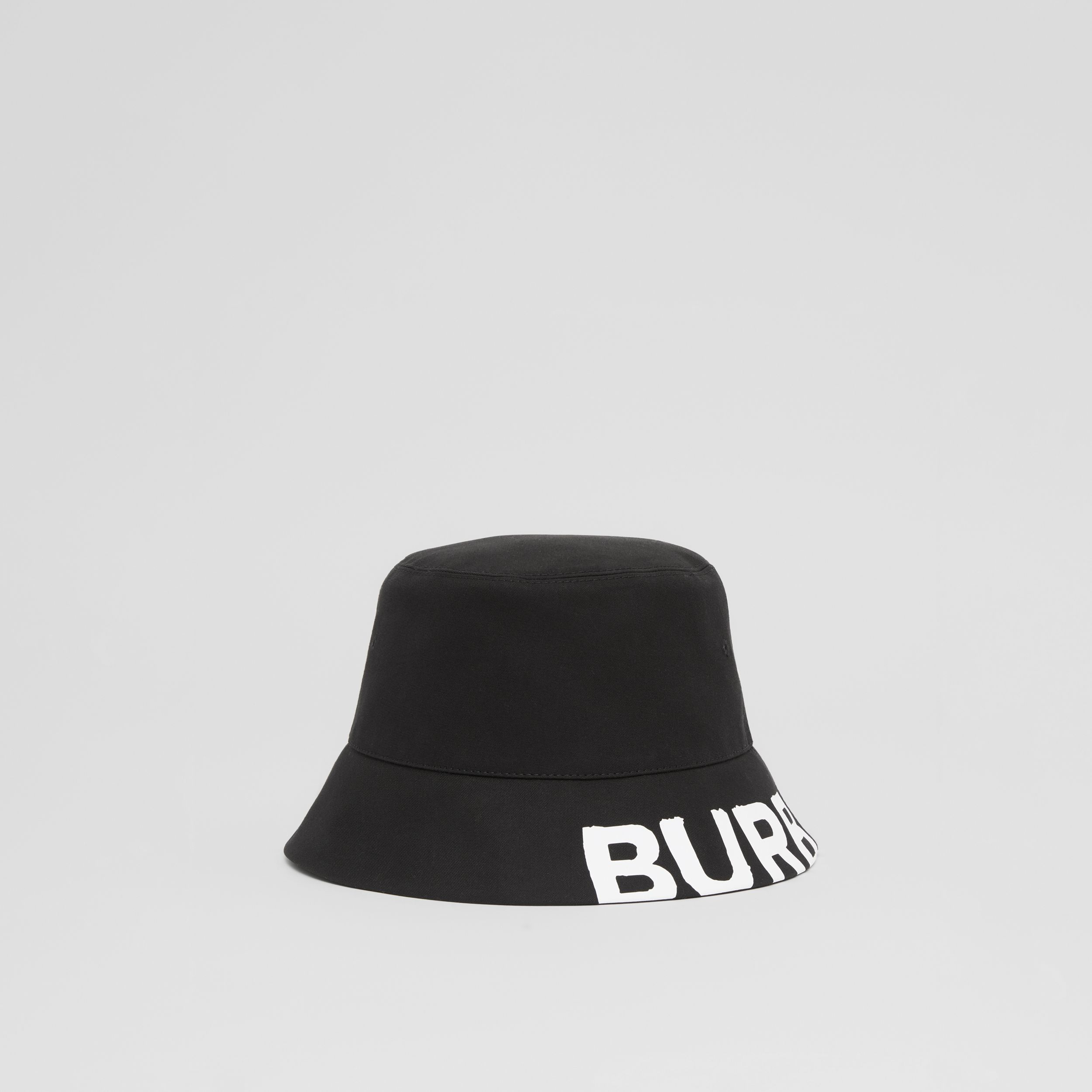 Reversible Logo Print Cotton Gabardine Bucket Hat in Black | Burberry Singapore - 1