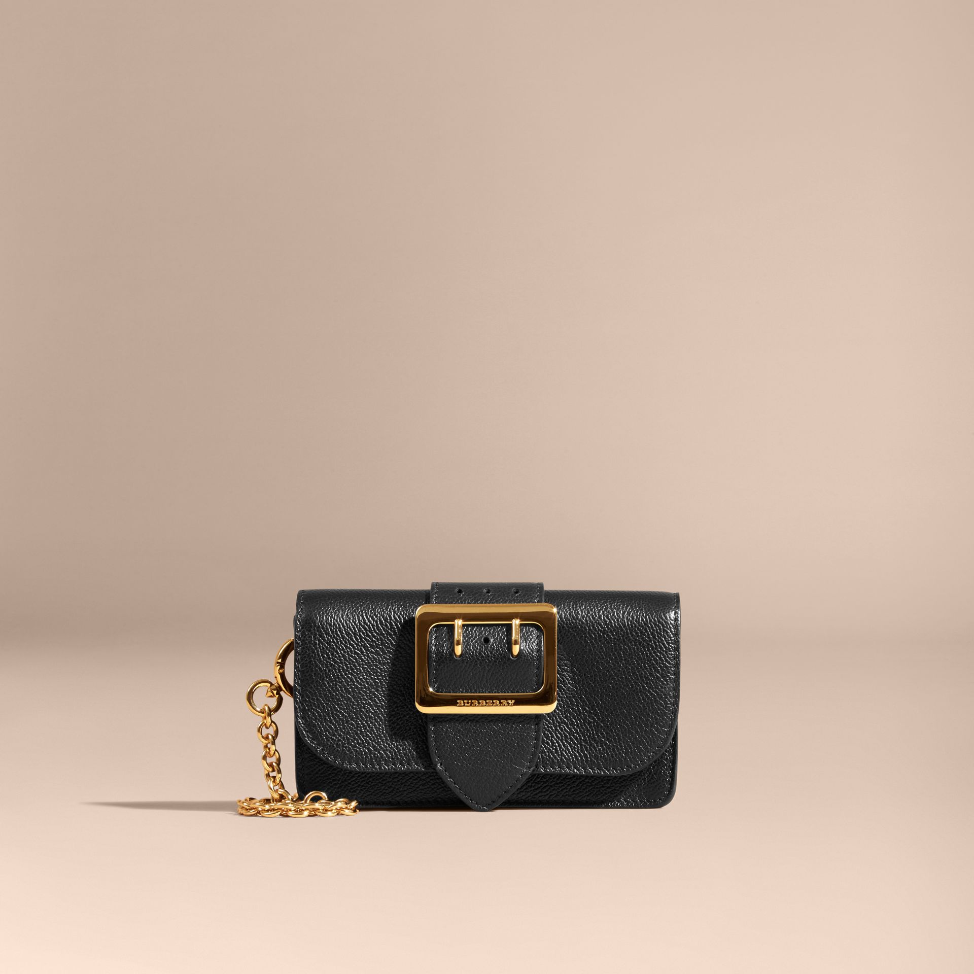 Black The Mini Buckle Bag in Grainy Leather Black - gallery image 7