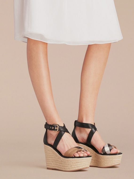 Leather and House Check Platform Espadrille Wedge Sandals in Black - Women | Burberry - cell image 2