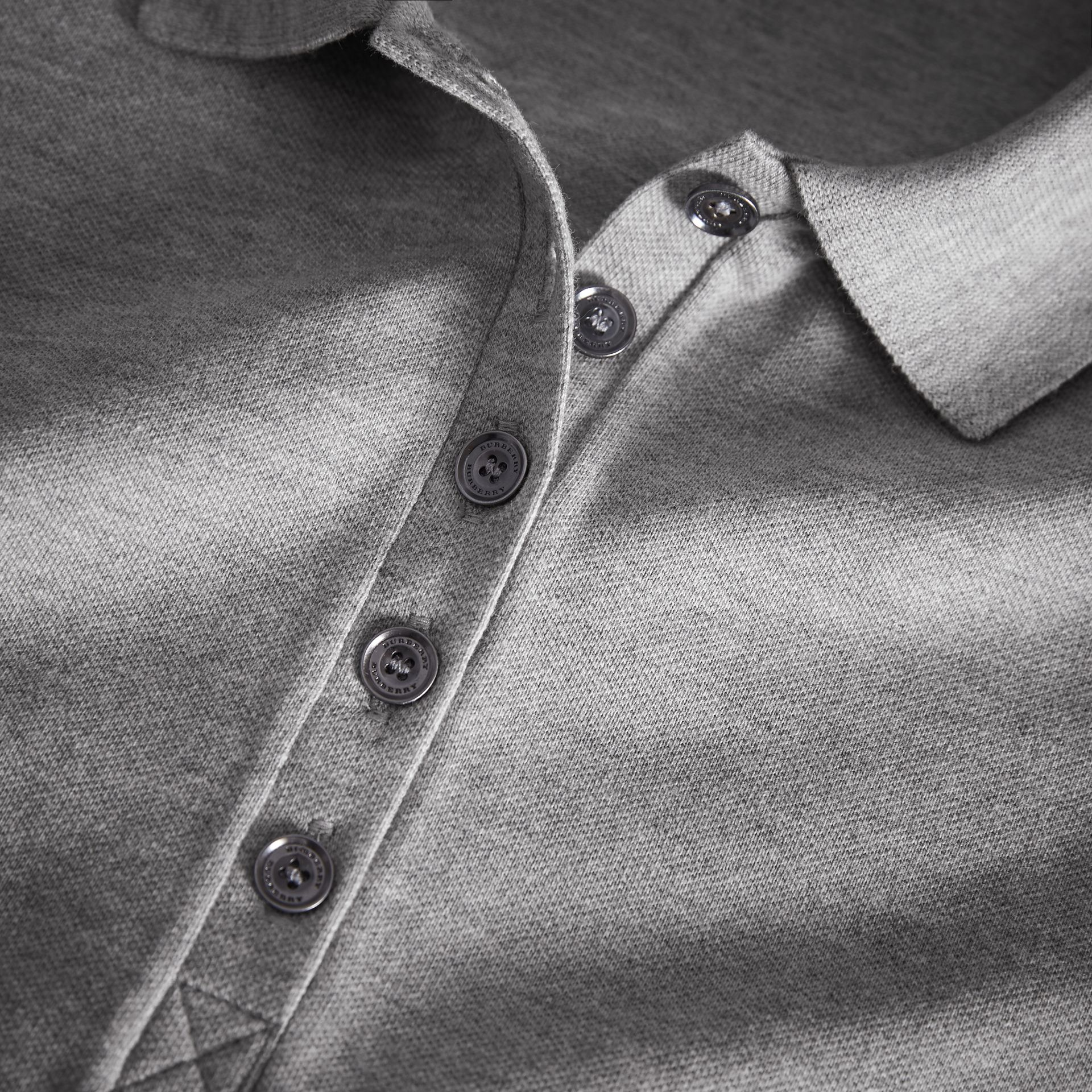 Check Trim Stretch Cotton Piqué Polo Shirt in Pale Grey Melange - Women | Burberry - gallery image 1
