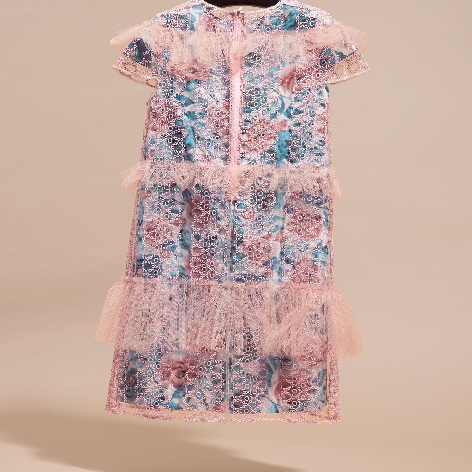 Pale rose Short-sleeved Embroidered Tulle and Silk Dress - gallery image 4