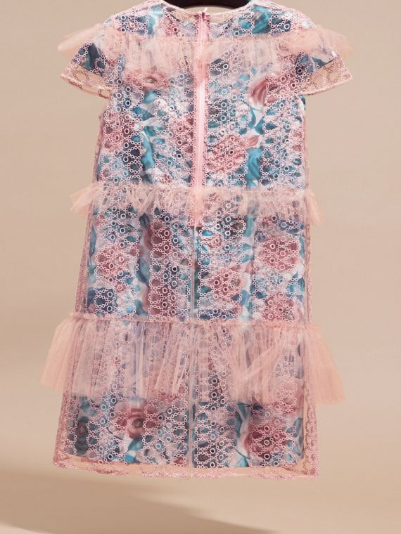 Pale rose Short-sleeved Embroidered Tulle and Silk Dress - cell image 3