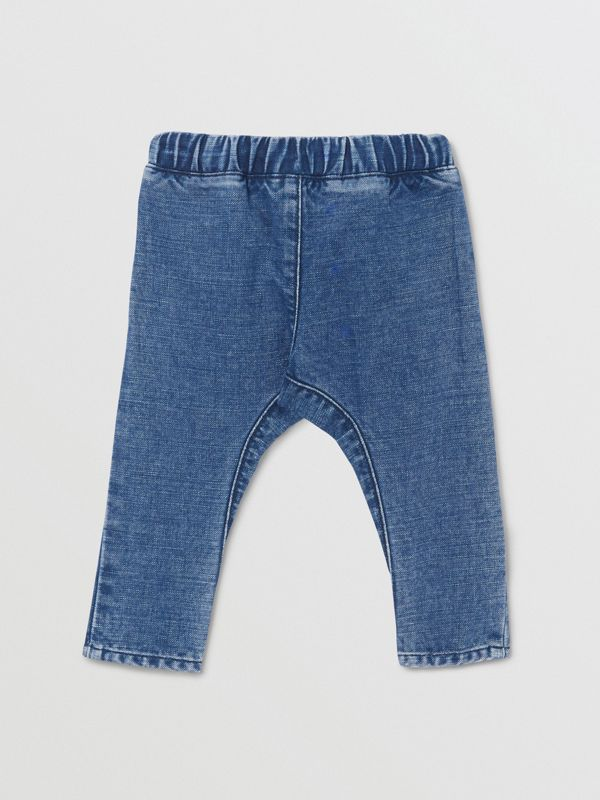 Logo Print Japanese Denim Jeans in Indigo - Children | Burberry - cell image 3