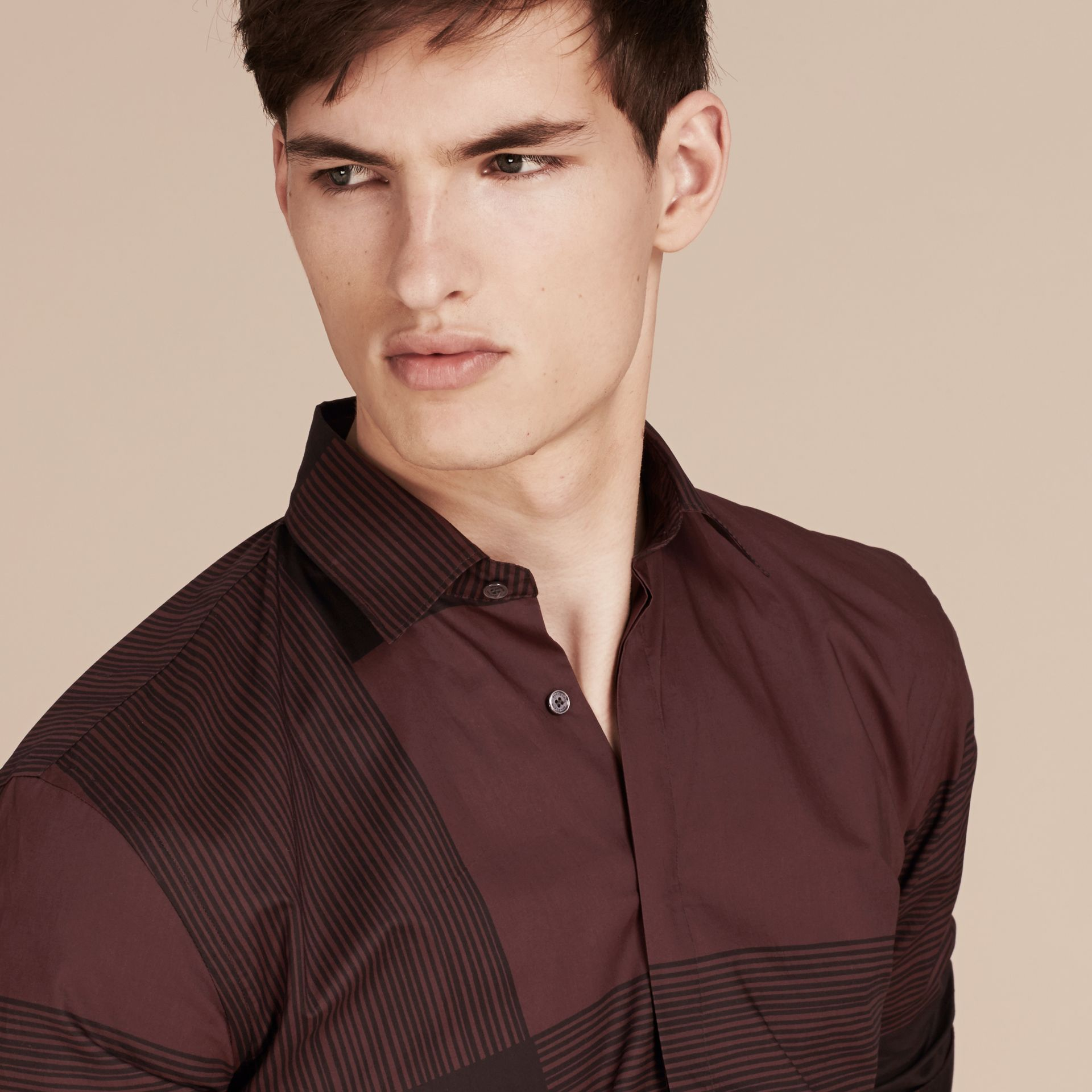 Burgundy Check Cotton Shirt Burgundy - gallery image 5