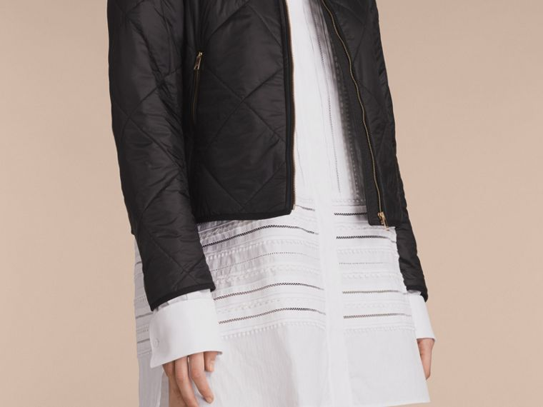 Collarless Diamond Quilted Lightweight Jacket Black - cell image 4