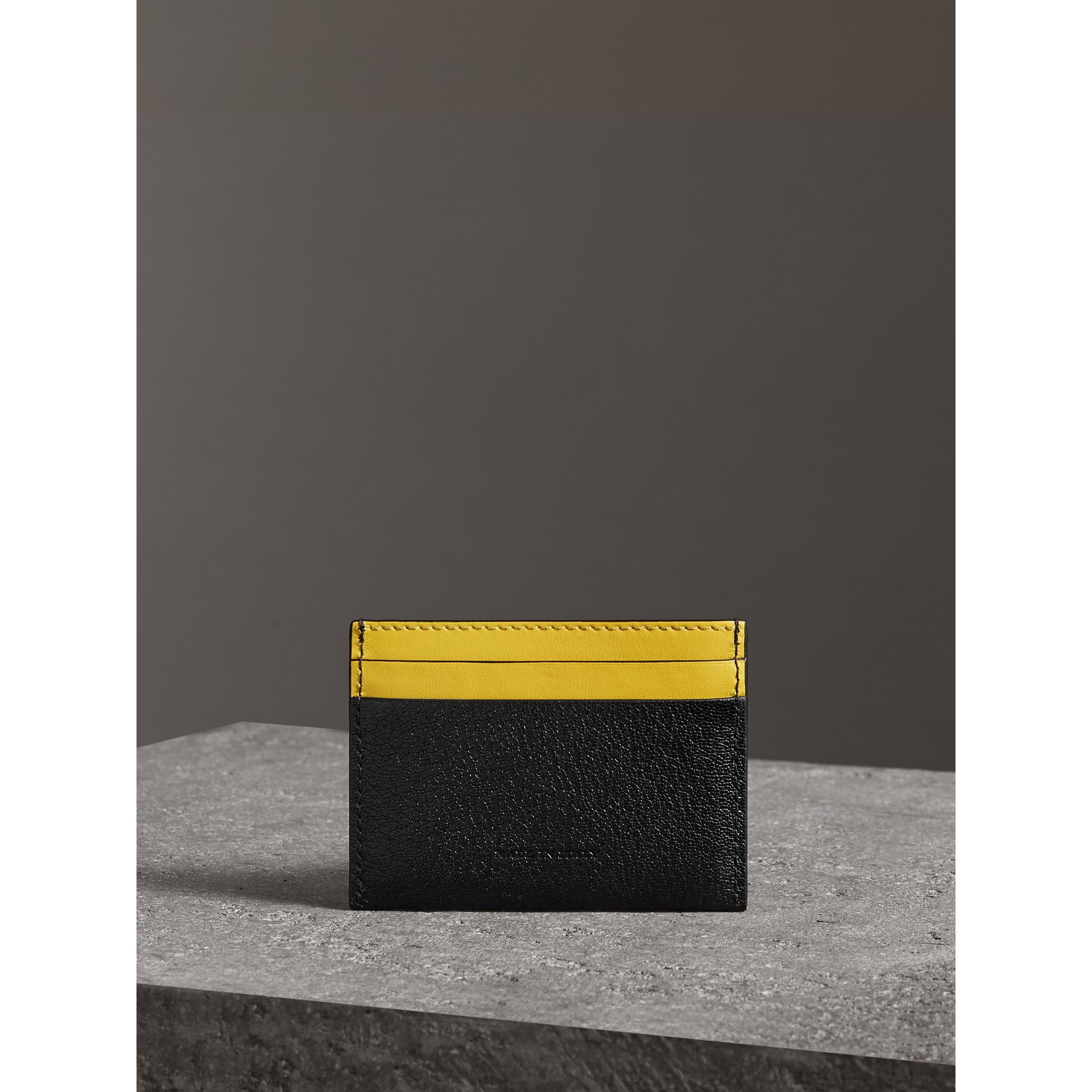 Two-tone Leather Card Case in Black | Burberry Australia - gallery image 2