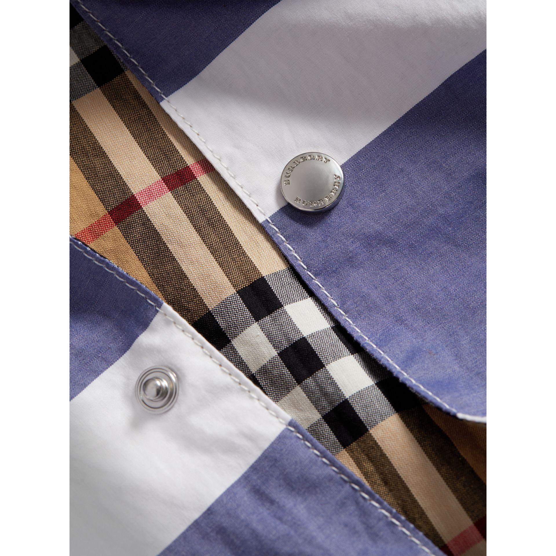 Reversible Stripe and Vintage Check Cotton Jacket in Navy/white | Burberry - gallery image 1