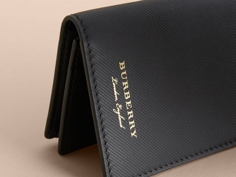 Trench Leather Folding Card Case in Black - Men | Burberry - cell image 1