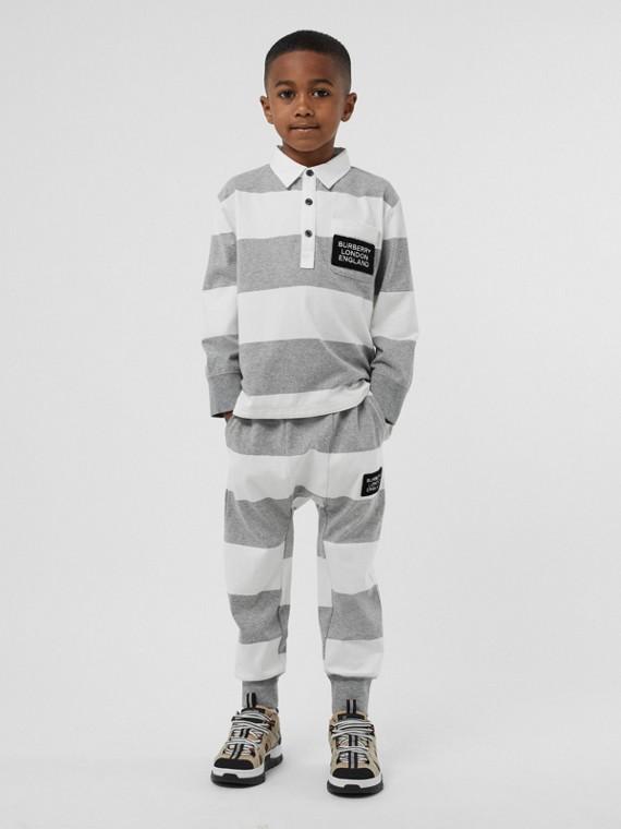 Langärmeliges Poloshirt aus Baumwolle mit Streifen (Grau Meliert)