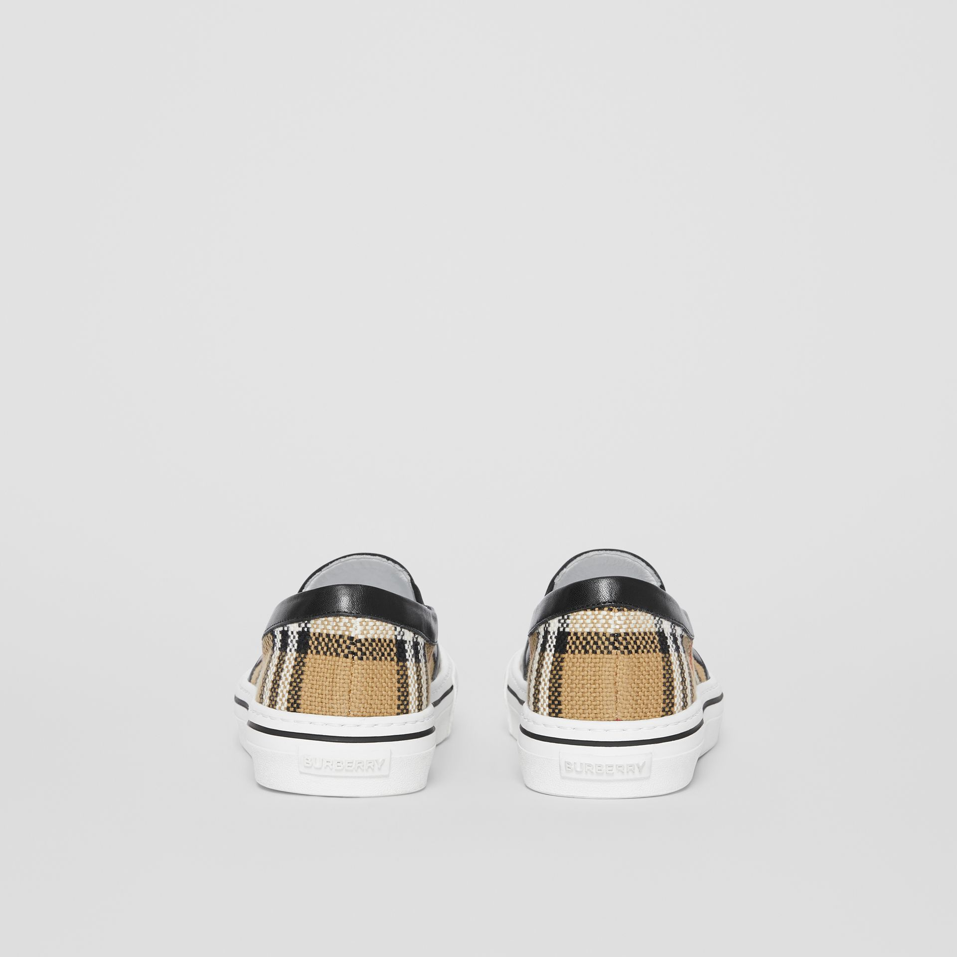 Vintage Check and Leather Slip-on Sneakers in Archive Beige - Women | Burberry - gallery image 4