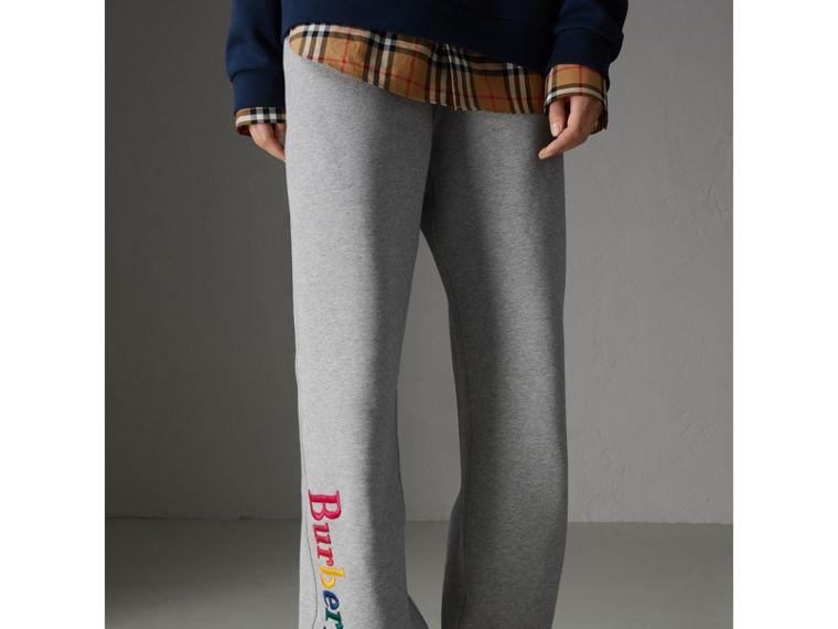 Archive Logo Jersey Sweatpants in Grey Melange - Women | Burberry - cell image 4
