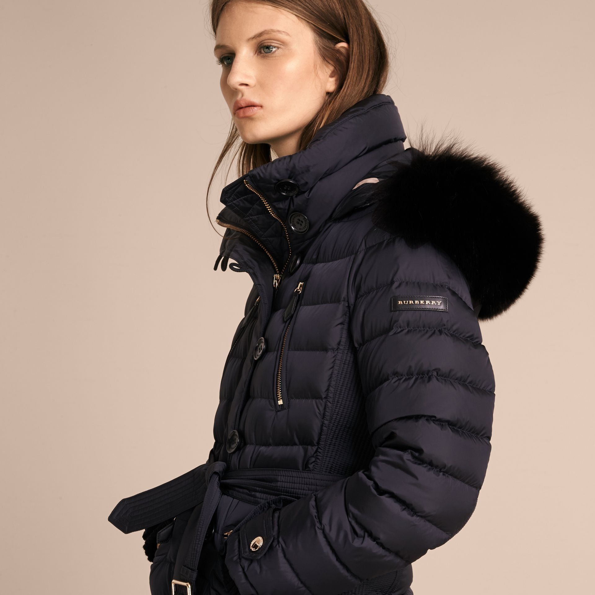 Navy Slim Fit Down-filled Parka with Fur Trim Navy - gallery image 6