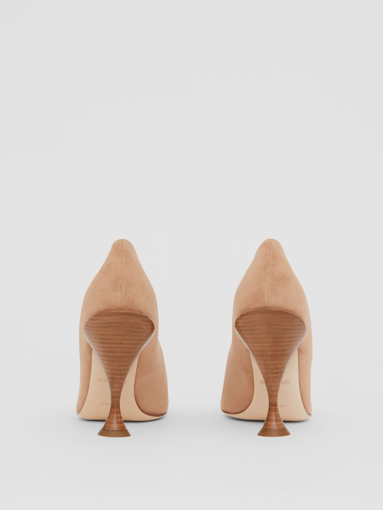 Suede Point-toe Pumps in Warm Camel