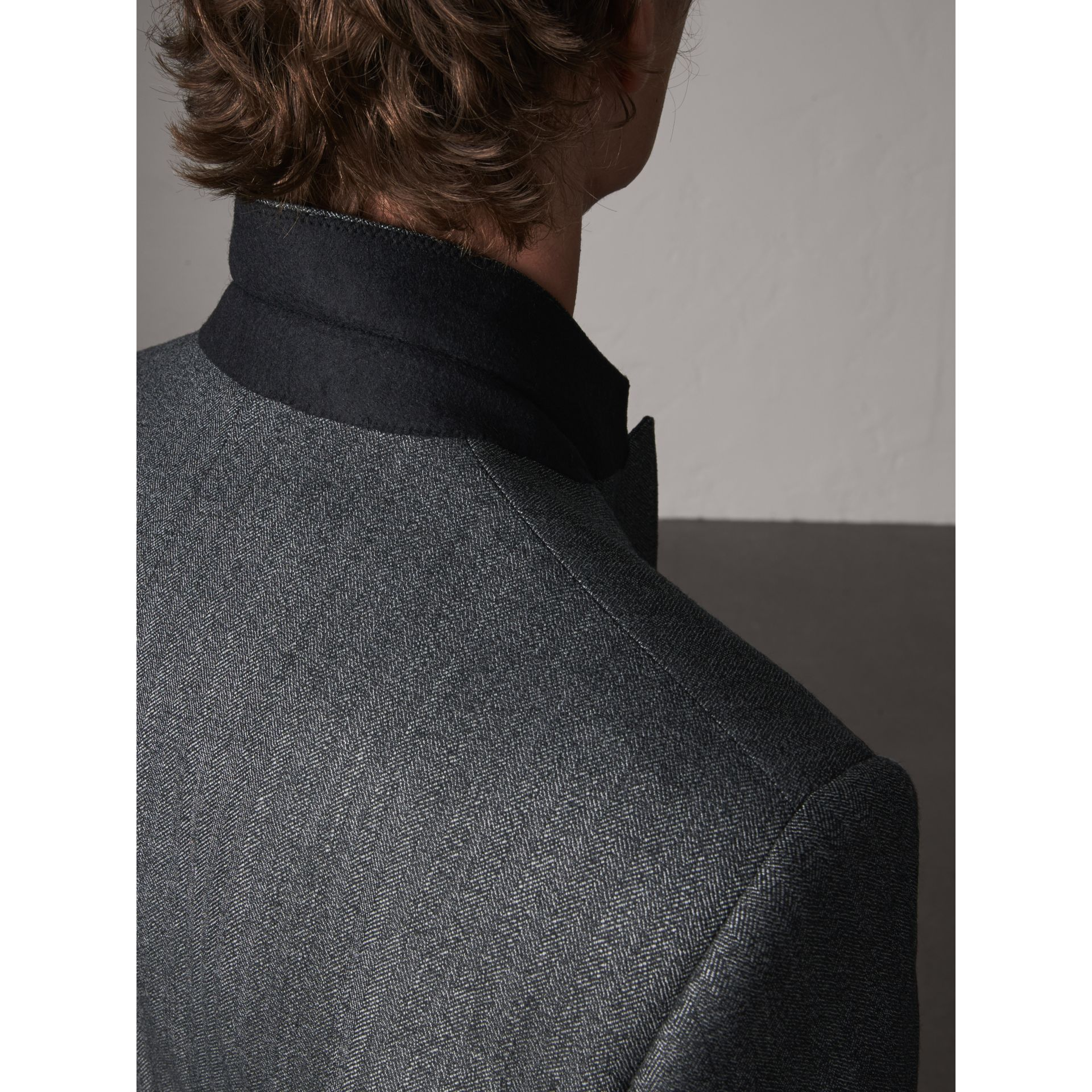 Modern Fit Wool Part-canvas Three-piece Suit in Charcoal - Men | Burberry Singapore - gallery image 6