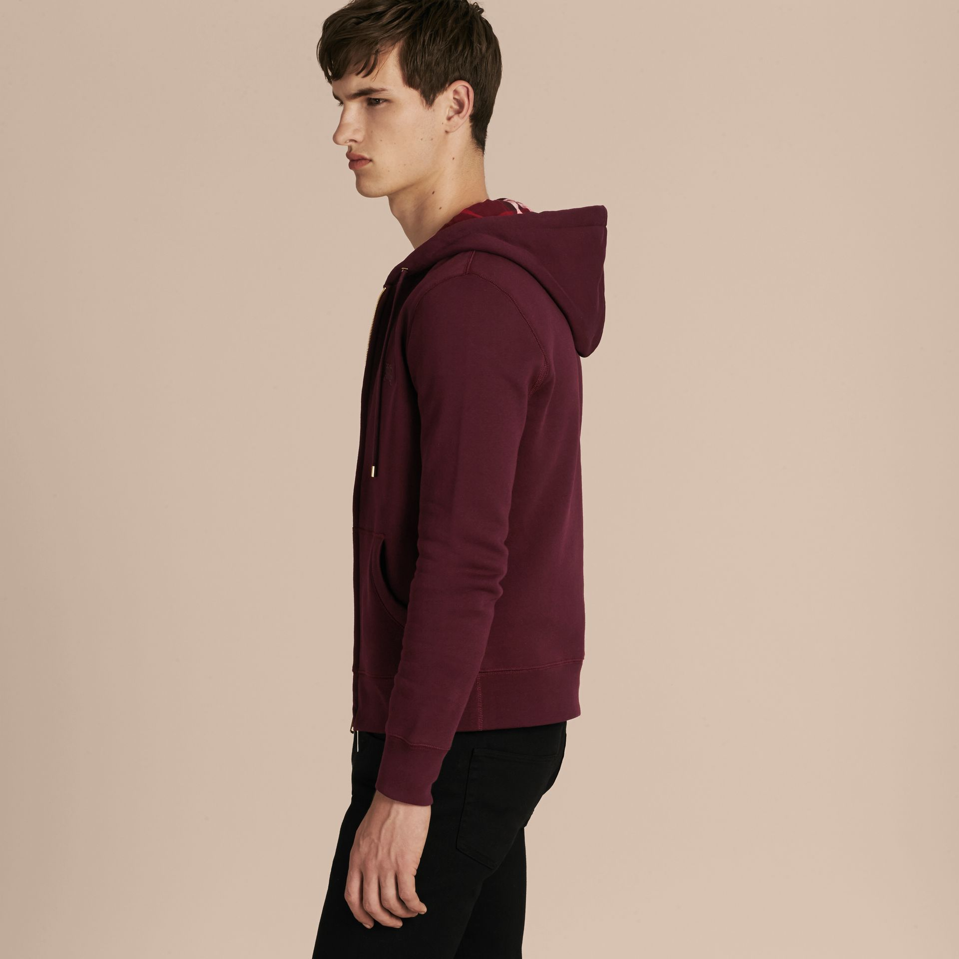 Deep claret Hooded Cotton Jersey Top - gallery image 6