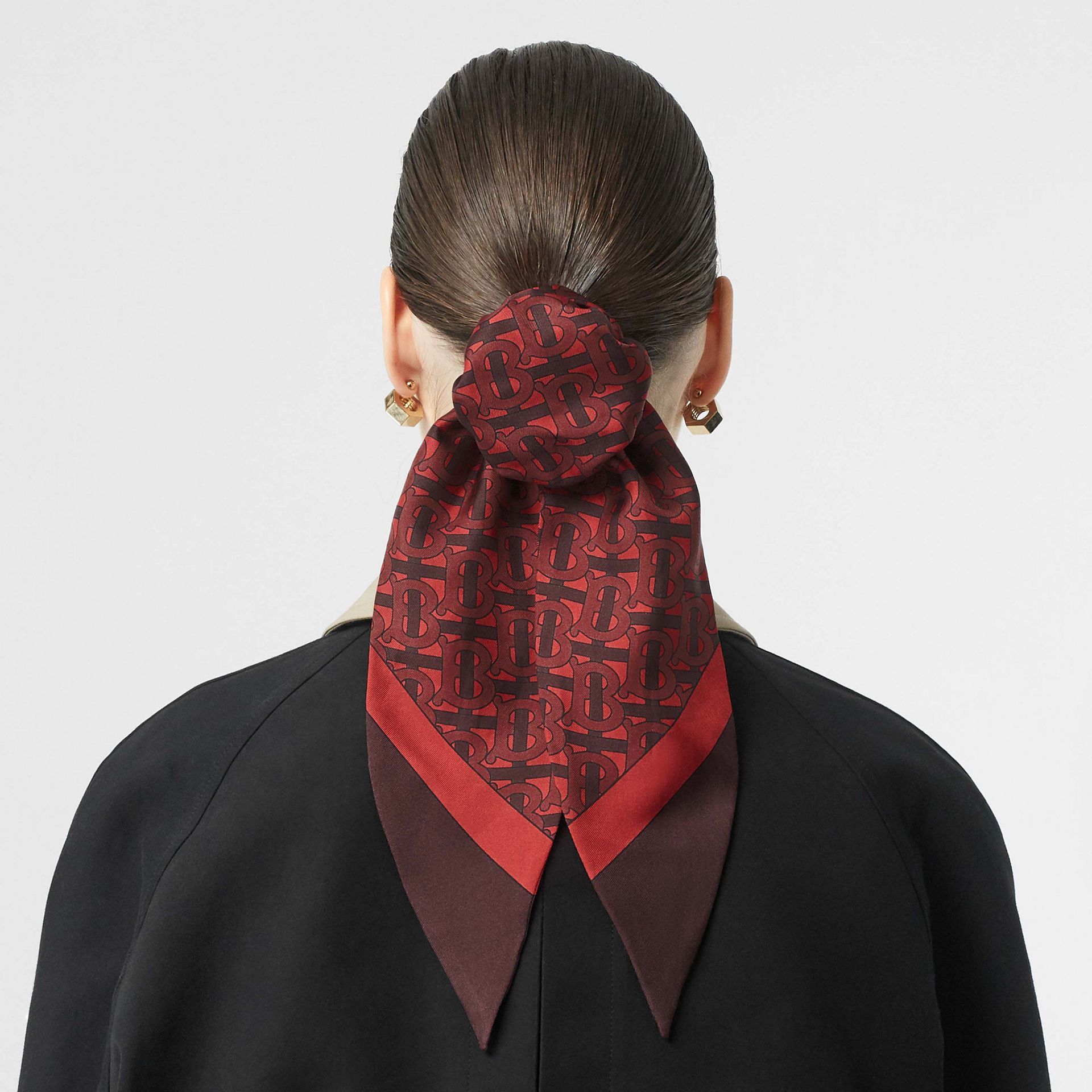 Monogram Print Silk Hair Scarf in Crimson - Women | Burberry Canada - gallery image 2