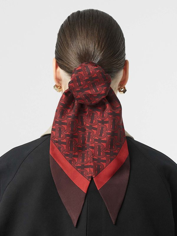 Monogram Print Silk Hair Scarf in Crimson - Women | Burberry Canada - cell image 2