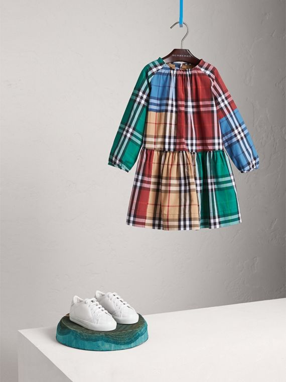 Colour Block Check Cotton Gathered Dress - Girl | Burberry Singapore