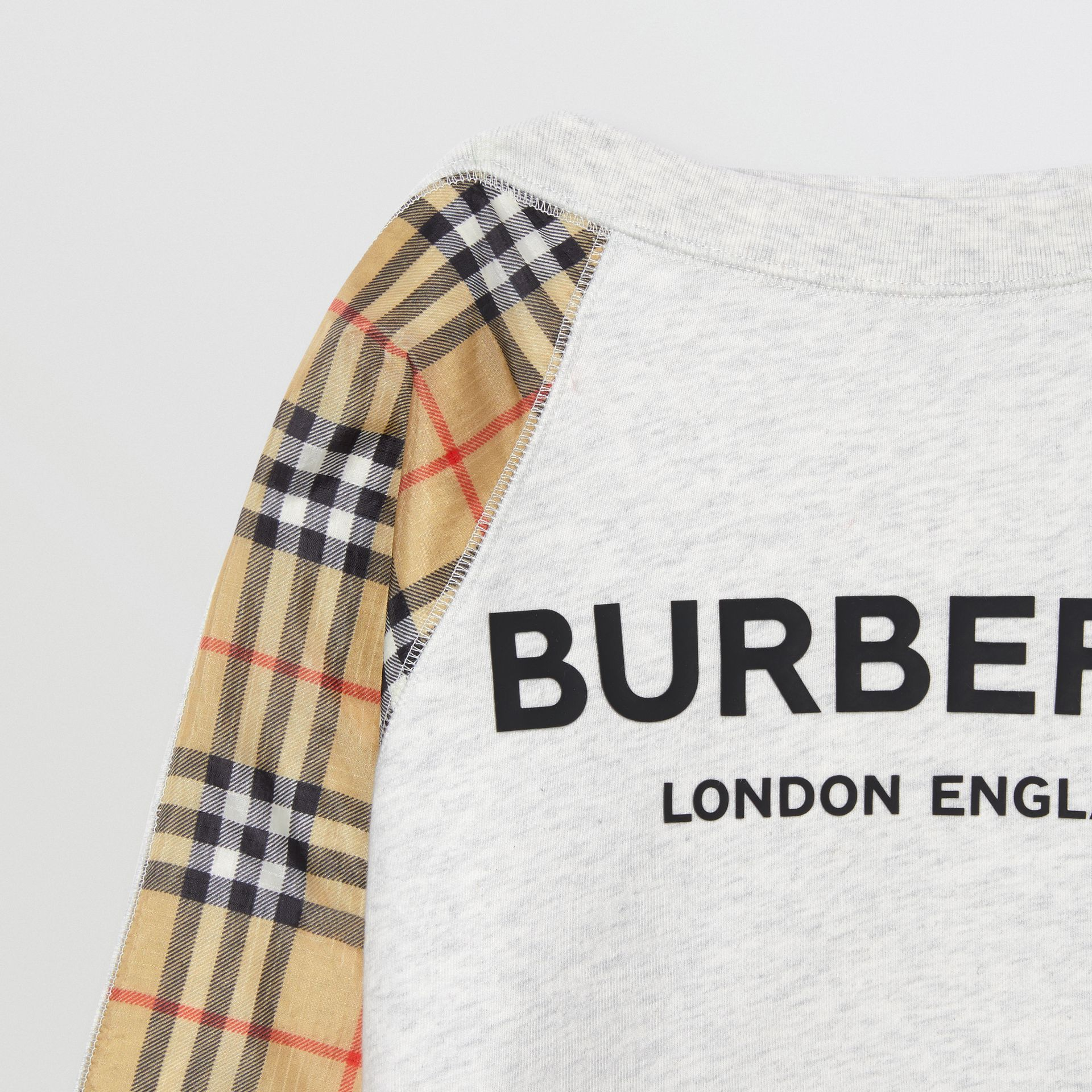 Vintage Check Detail Logo Print Cotton Sweatshirt in White Melange | Burberry Hong Kong S.A.R - gallery image 5
