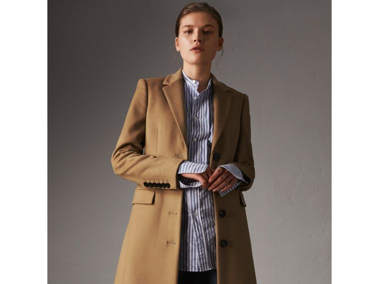 Wool Cashmere Tailored Coat in Camel - Women | Burberry Hong Kong - cell image 4