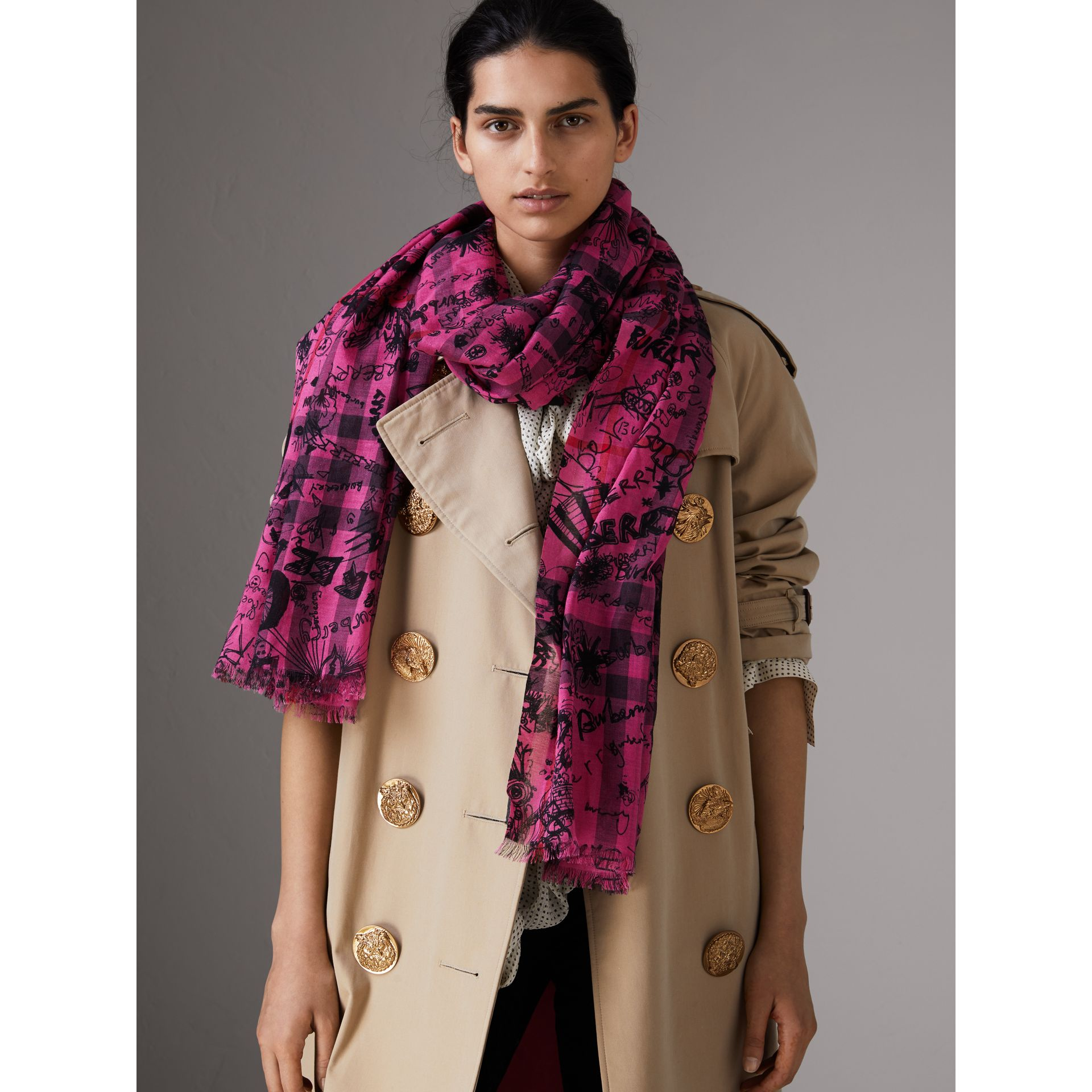 Doodle Print Check Wool Silk Scarf in Neon Pink | Burberry - gallery image 2