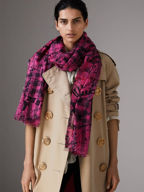 Doodle Print Check Wool Silk Scarf in Neon Pink | Burberry - cell image 2