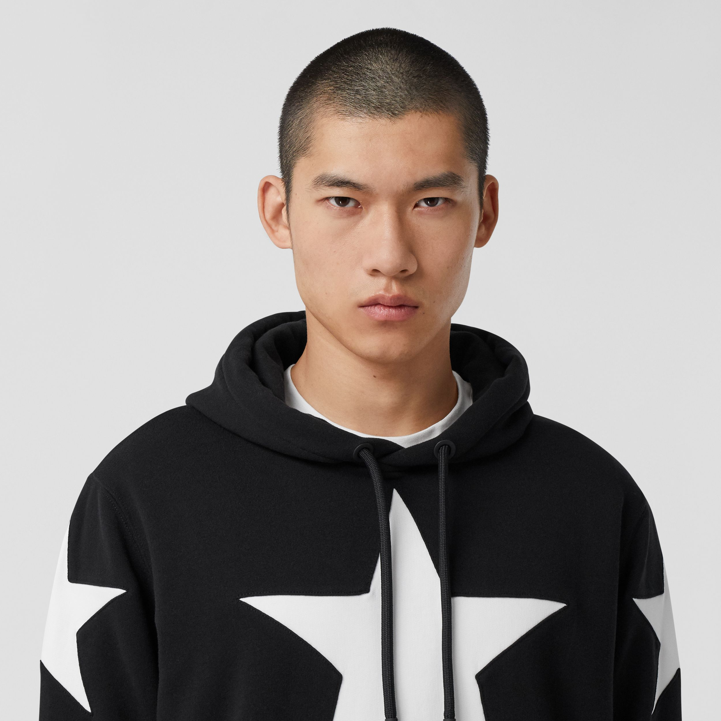 Star Motif Cotton Hoodie in Black | Burberry United Kingdom - 2