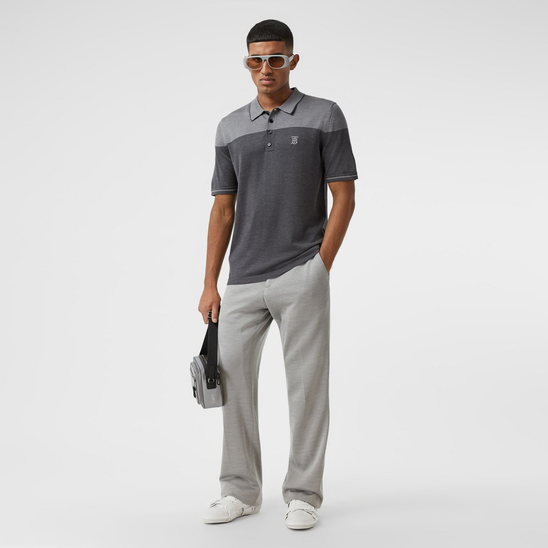 Monogram Motif Two-tone Silk Cashmere Polo Shirt in Charcoal - Men | Burberry - gallery image 4