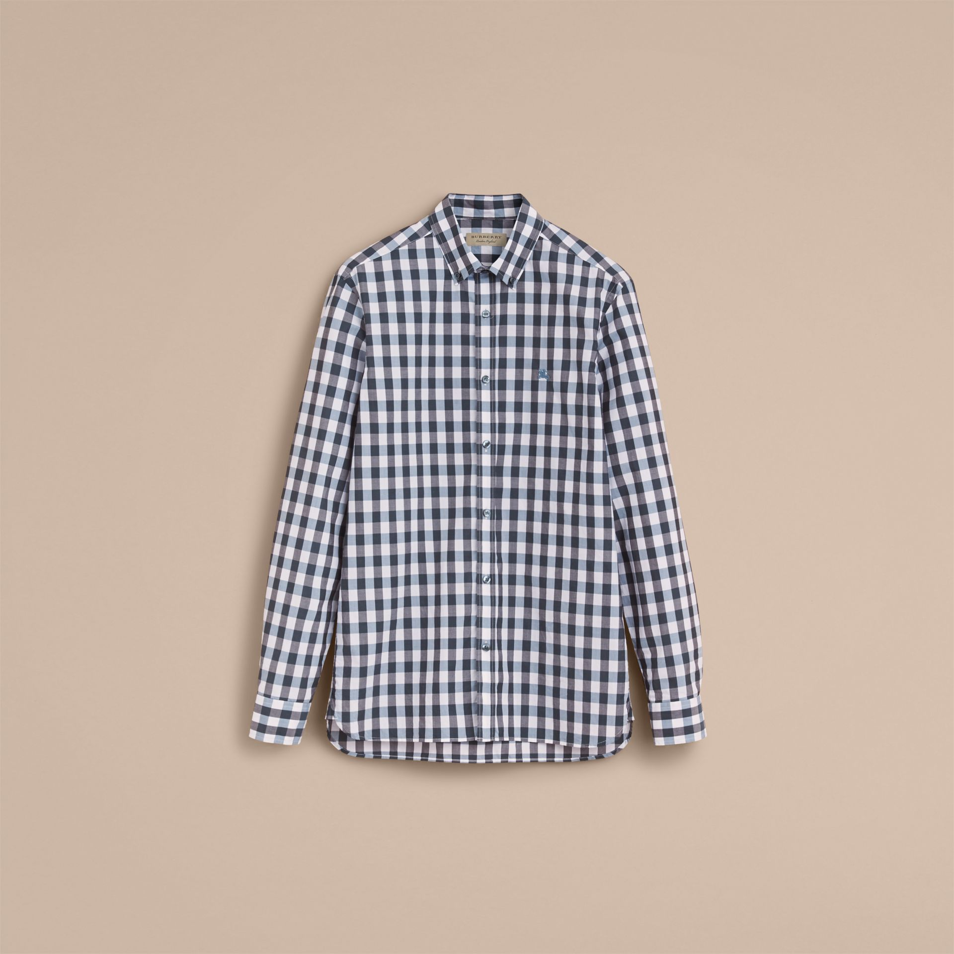Button-down Collar Gingham Cotton Shirt in Mineral Blue - gallery image 4