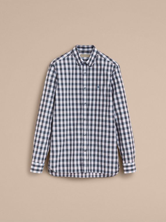 Button-down Collar Gingham Cotton Shirt in Mineral Blue - cell image 3