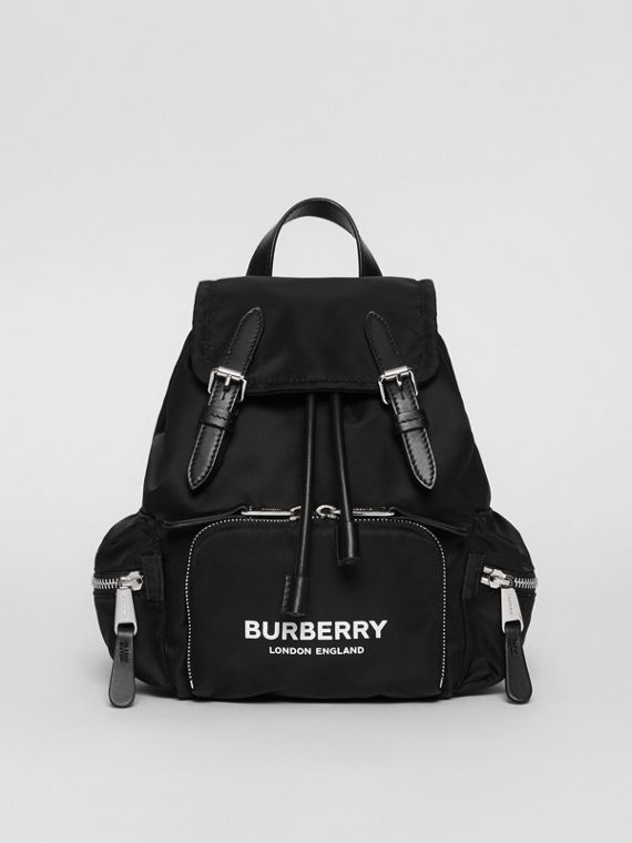 The Small Rucksack in Logo Print Nylon in Black