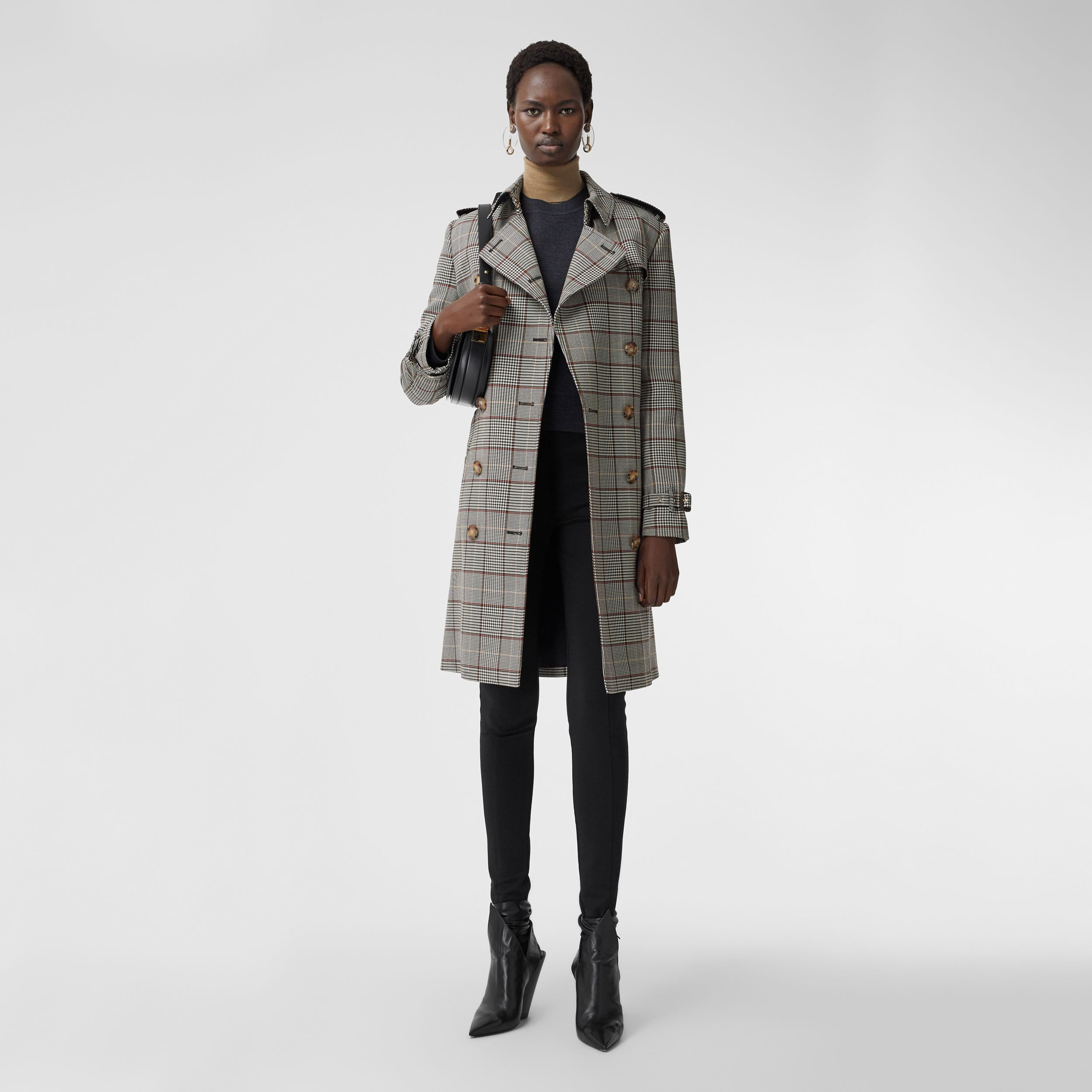 Prince of Wales Check Wool Trench Coat in Clove Brown - Women | Burberry Hong Kong S.A.R. - 1