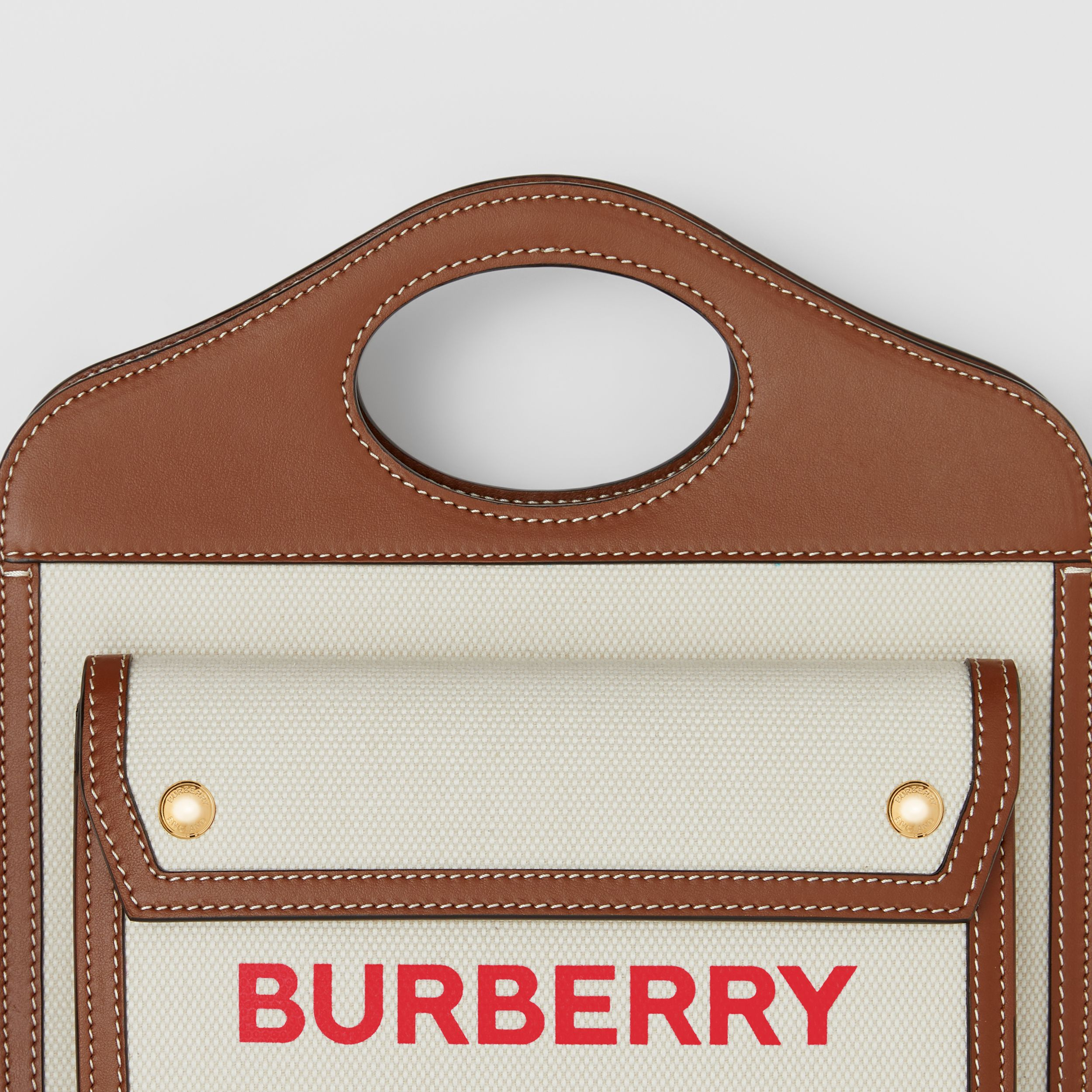Borsa Pocket mini bicolore in tela e pelle (Naturale/marroncino) - Donna | Burberry - 2