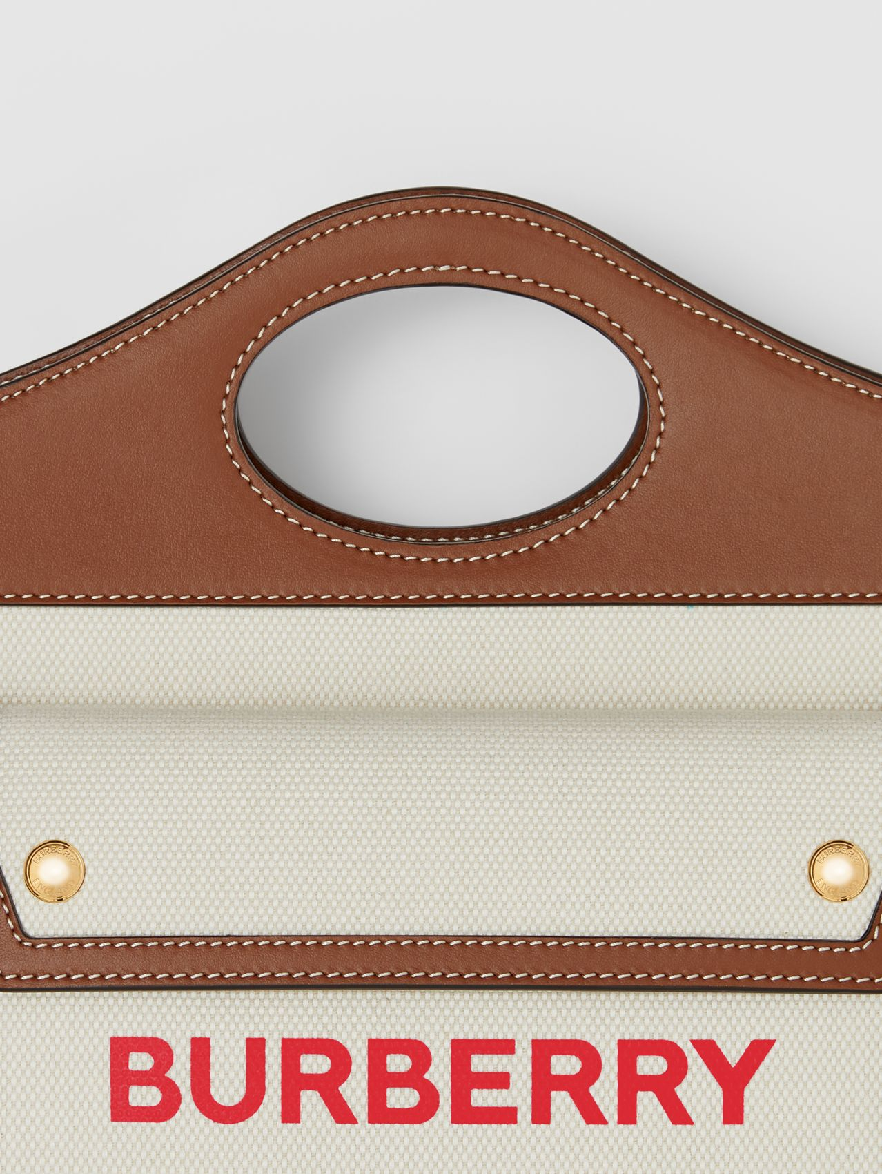 Mini Two-tone Canvas and Leather Pocket Bag in Natural/tan