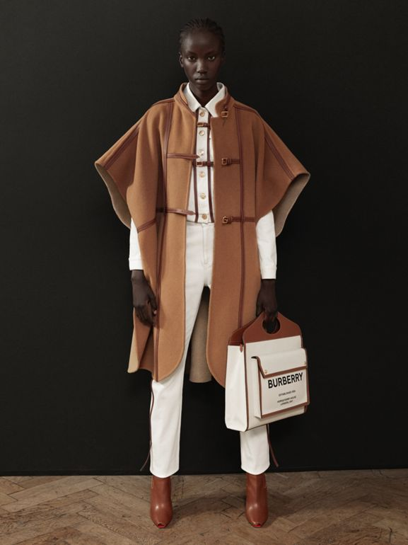 Leather Harness Detail Wool Blend Cape in Camel/honey - Women | Burberry - cell image 1