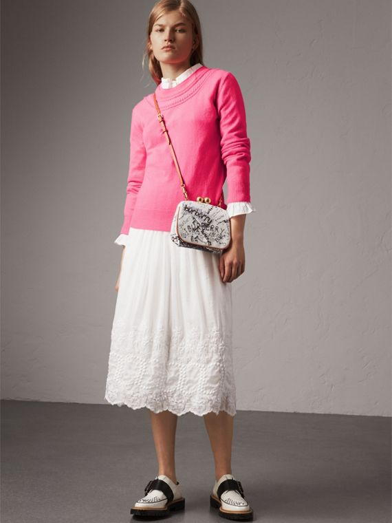 Cable Knit Yoke Cashmere Sweater in Bright Rose Pink