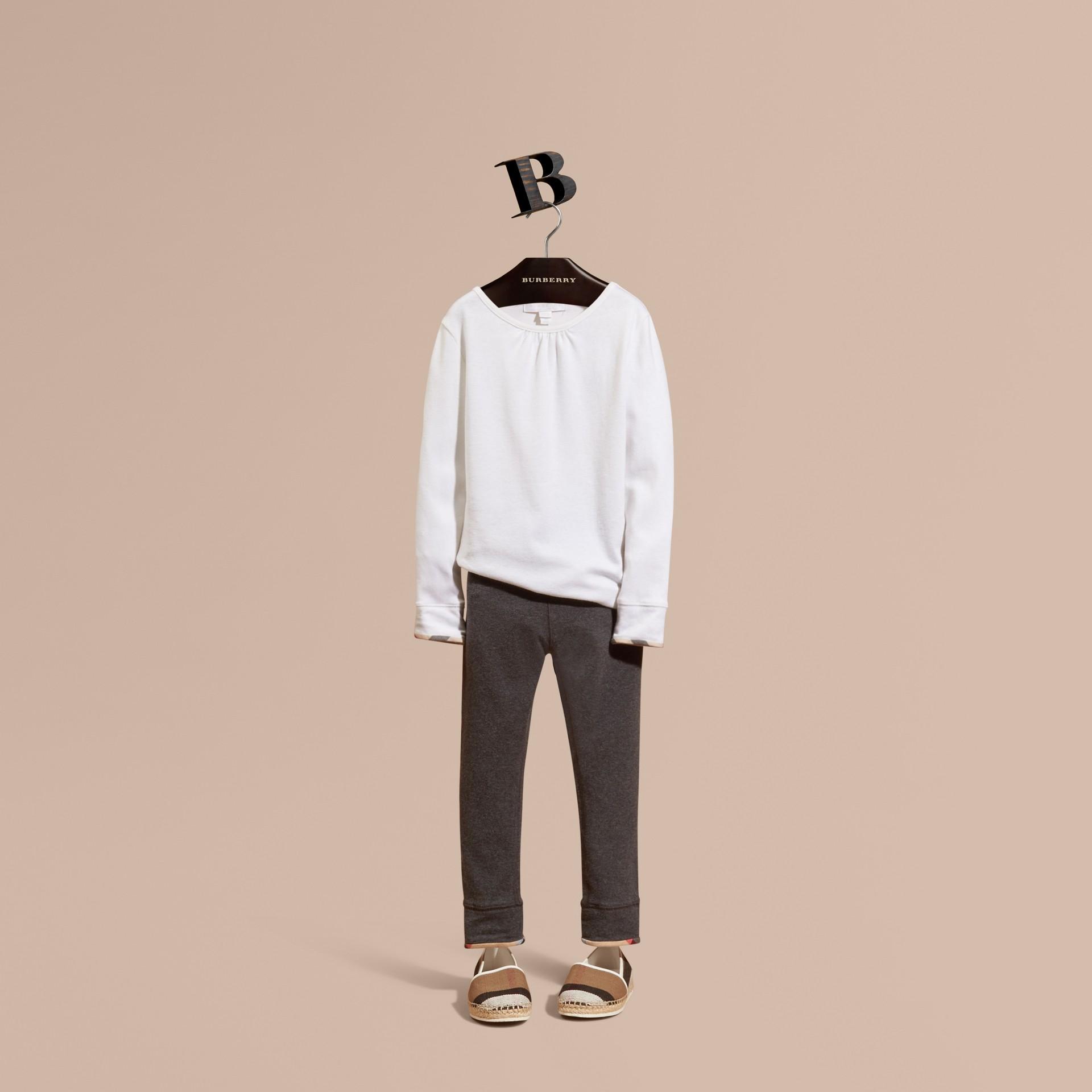 Mid grey melange Stretch Cotton Leggings Mid Grey Melange - gallery image 1