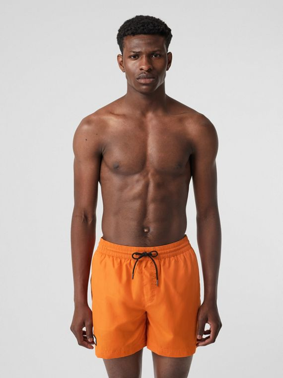 Logo Detail Drawcord Swim Shorts in Bright Orange