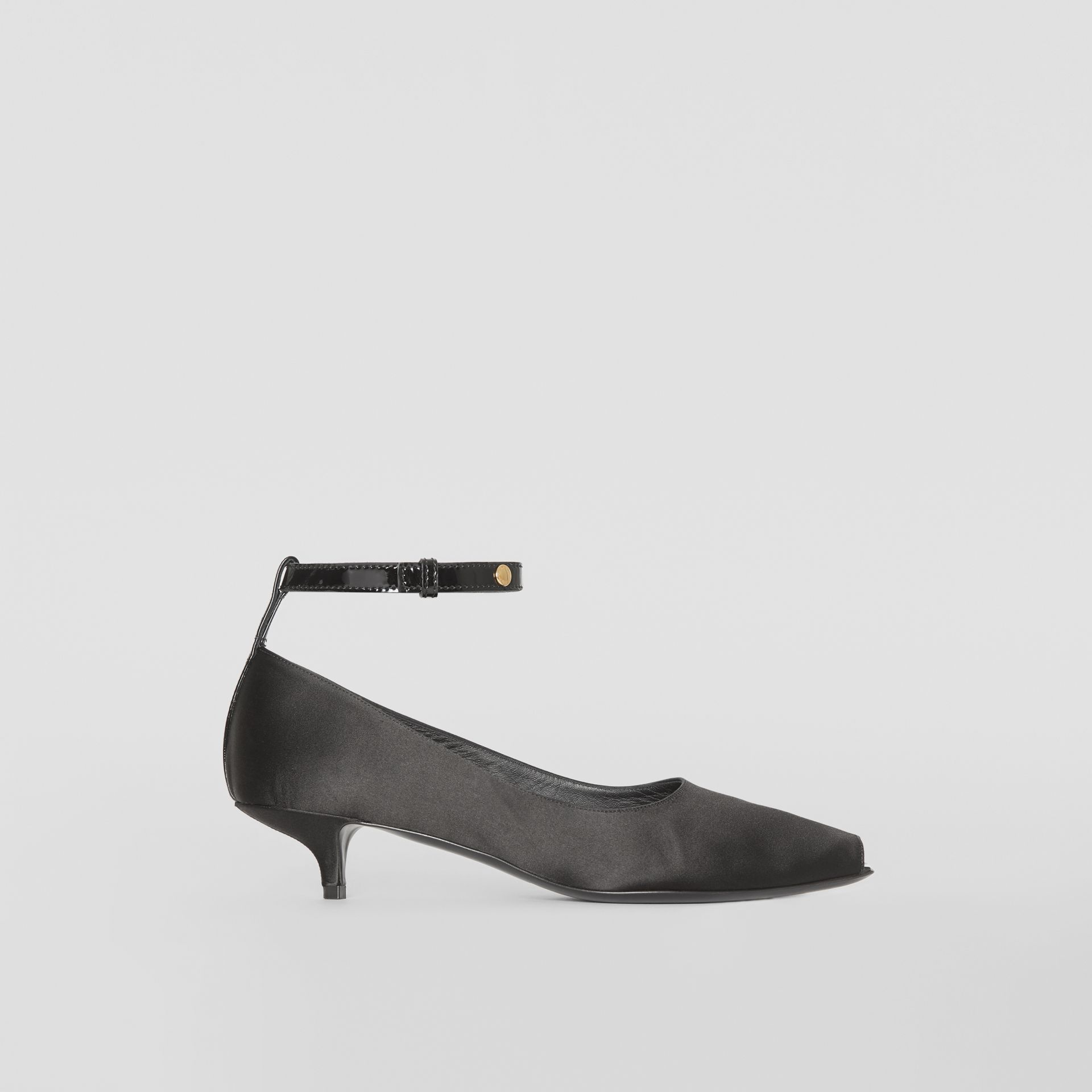 Satin Peep-toe Kitten-heel Pumps in Black - Women | Burberry - gallery image 5