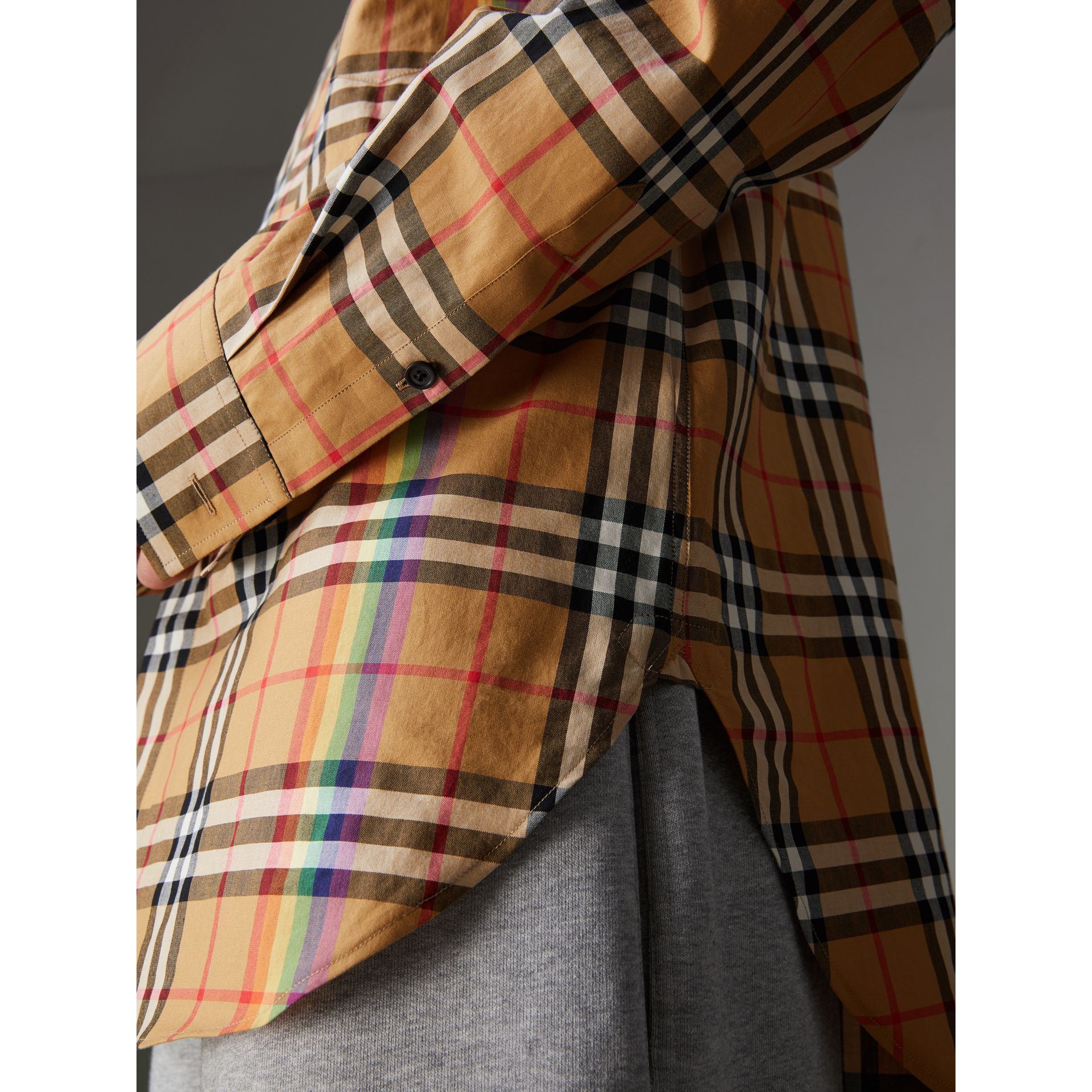 Rainbow Vintage Check Cotton Shirt in Antique Yellow - Women | Burberry Australia - gallery image 1