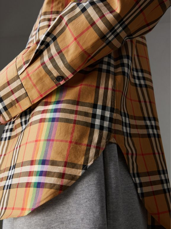 Rainbow Vintage Check Cotton Shirt in Antique Yellow - Women | Burberry - cell image 1